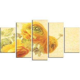 Yellow flower wall art wayfair bunch of yellow ranunculus flowers 5 piece wall art on wrapped canvas set mightylinksfo