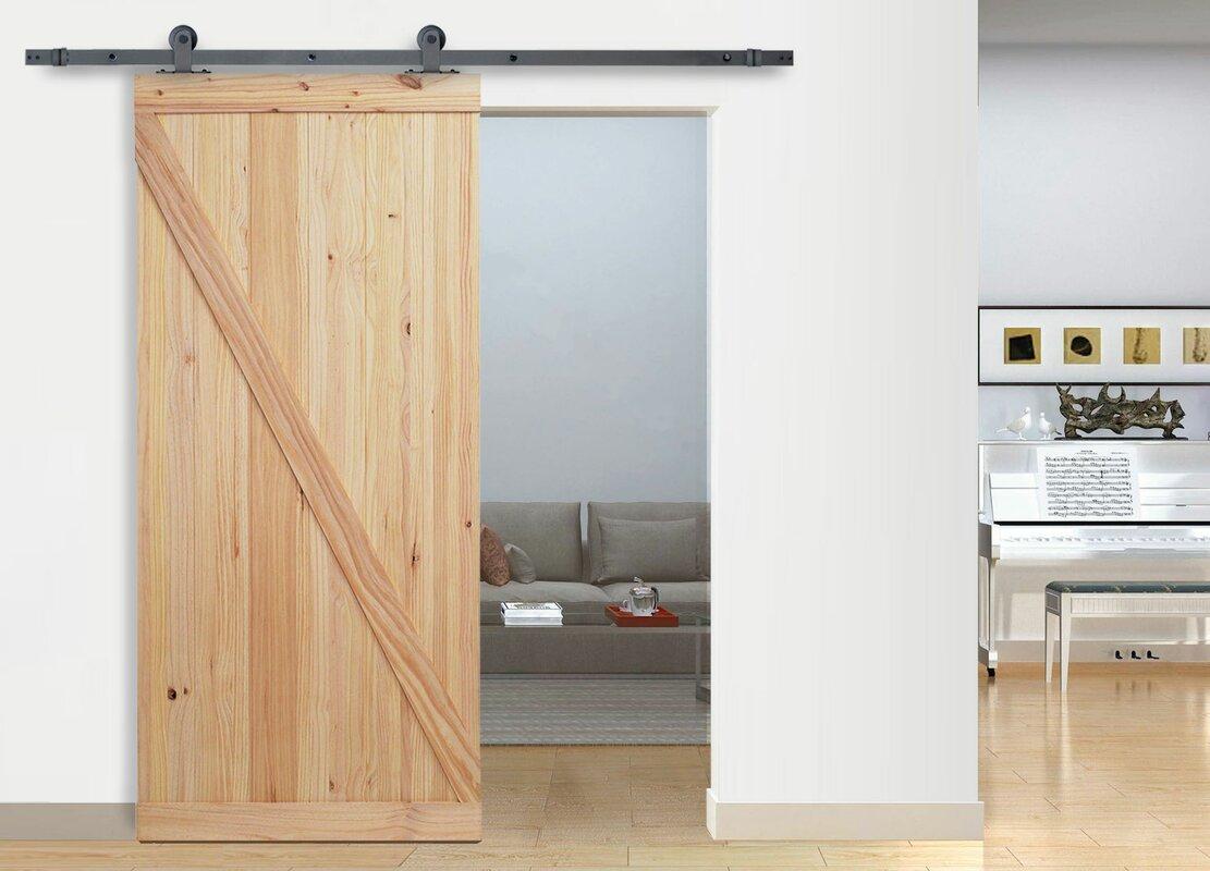 Indoor barn door top mount wood interior barn door image for Barn doors las vegas