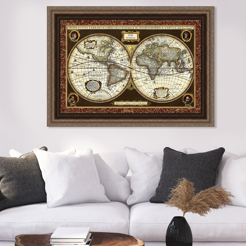 Ashton Wall Décor LLC Trends Decorative World Map Framed Graphic Art on