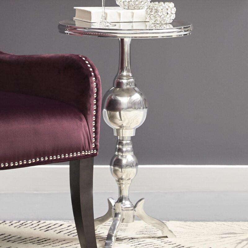 Belford Round Polished Aluminum Pedestal Tripod End Table