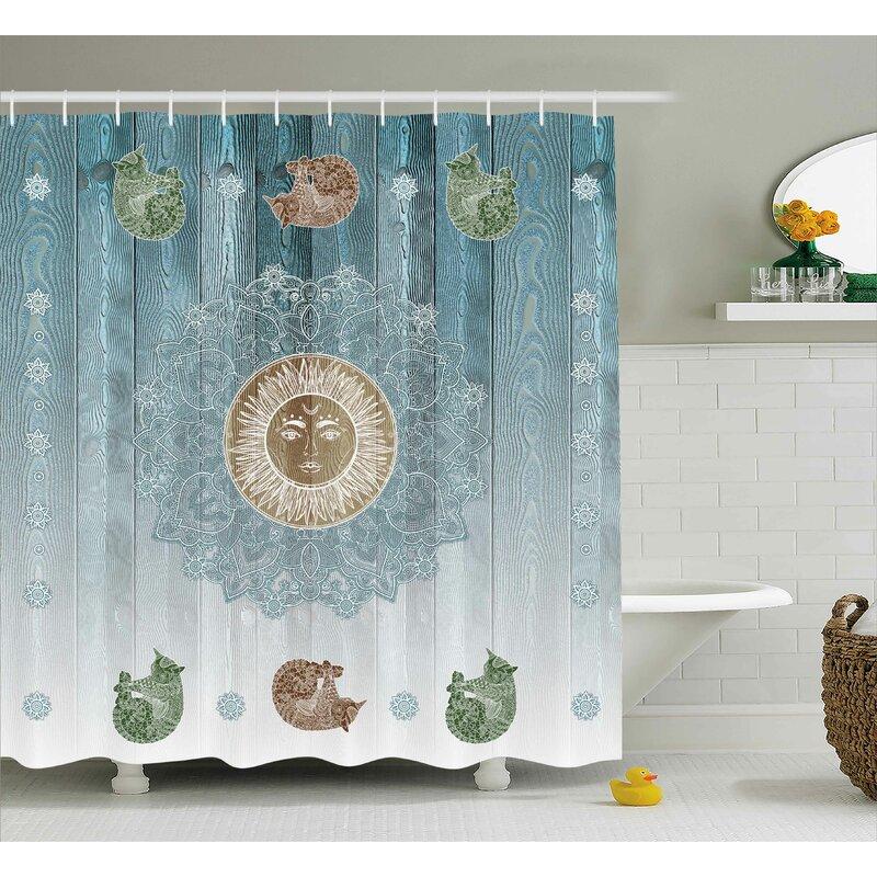 Bloomsbury Market Beecroft Totem Zen Boho Sun Cats Single Shower Curtain