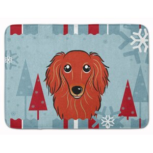 Winter Holiday Longhair Dachshund Memory Foam Bath Rug