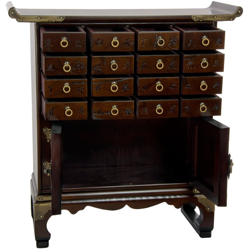 Oriental furniture korean 16 drawer medicine accent chest for Asian furniture emeryville ca