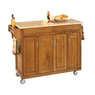 Stroman Kitchen Island with Natural Wood