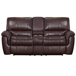 Deverell Leather Reclining Loveseat by World Menagerie