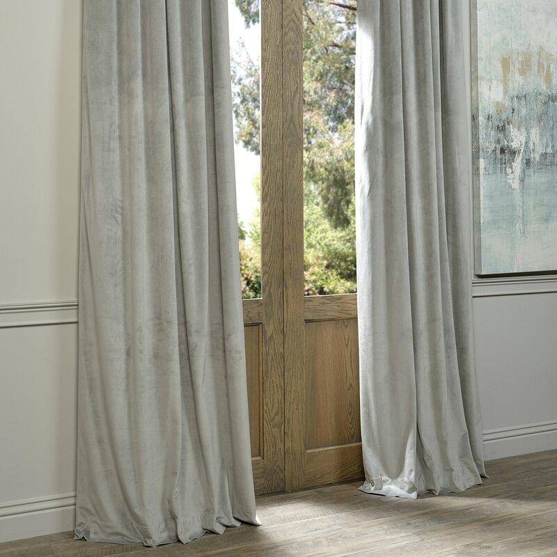 Sharpe Solid Velvet Blackout Grommet Single Curtain Panel