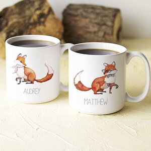 Personalized 2 Piece 20 Oz. Fox Large Coffee Mug Set