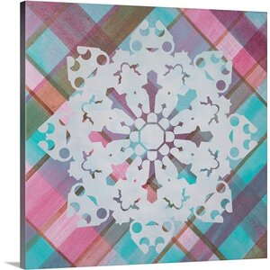 Christmas Art Plaid Snowflake Wonderland X by Inner Circle Graphic Art on Wrapped Canvas