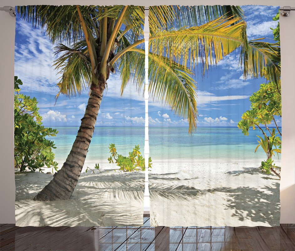 Tropical Beach And Peaceful Ocean: East Urban Home Scenery Tropical Sandy Beach With Palm