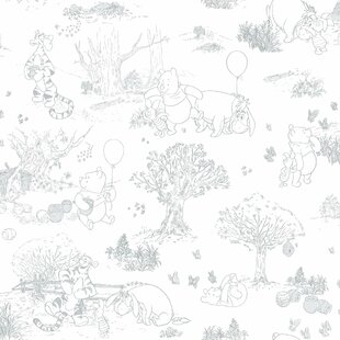 "Disney Kids III Pooh and Friends Toile 33' x 20.5"" Wallpaper Roll"