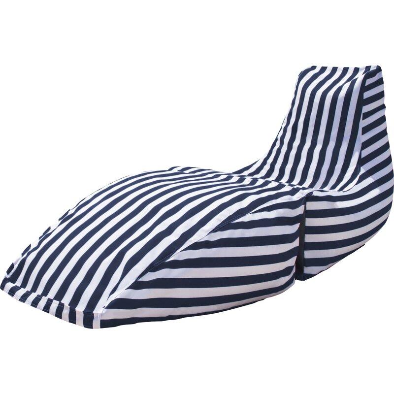Prado Outdoor Striped Bean Bag Chaise Lounge Chair