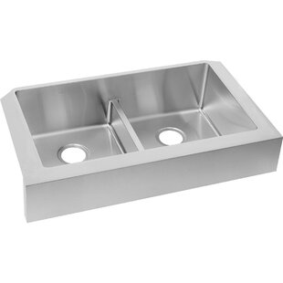 Crosstown 36 X 20 Double Basin Farmhouse Kitchen Sink With Basket Strainer