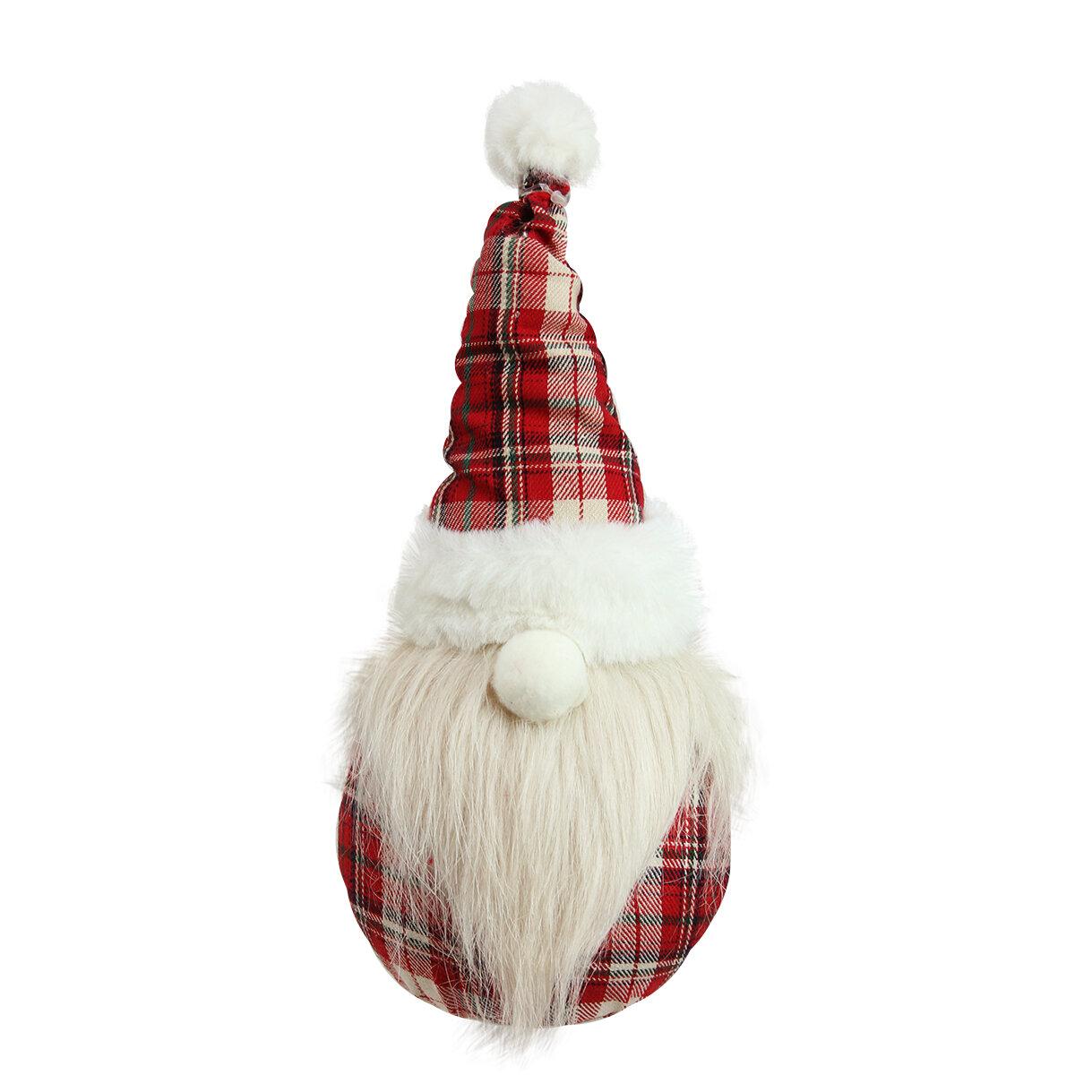 The holiday aisle plaid sitting santa gnome plush table top