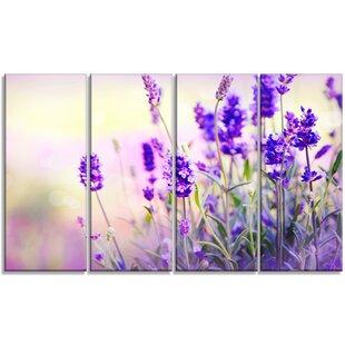 U0027Purple Lavender Fieldu0027 4 Piece Wall Art On Wrapped Canvas Set