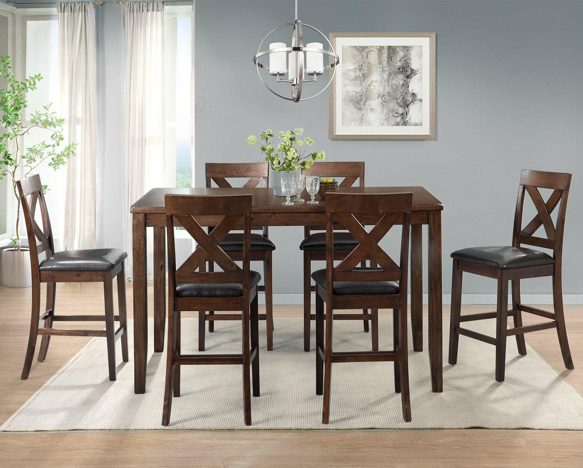 Darby Home Co Makaila 7 Piece Counter Height Dining Set U0026 Reviews   Wayfair