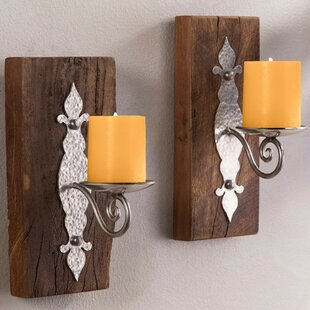 Antiqued Iron Reclaimed Wood Wall Sconce (Set Of 2)