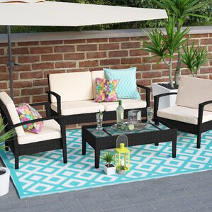 Cade 4 Piece Deep Seating Group Set With Cushion