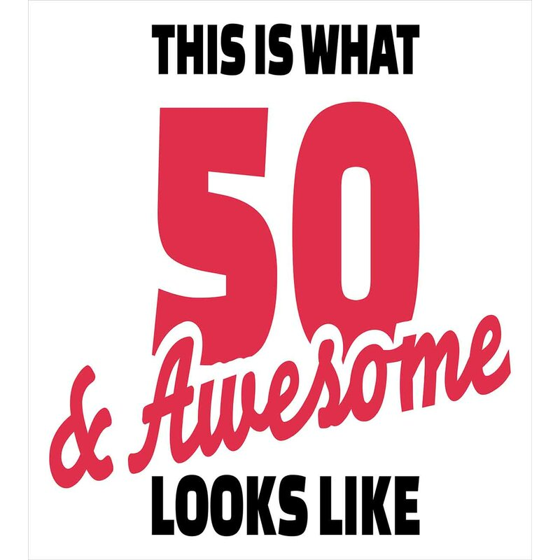 50th Birthday Decorations Fifty And Awesome Cool Fun Hand Written Happy Slogan Duvet Cover Set