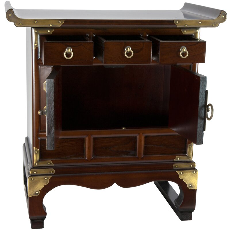Oriental furniture korean 3 drawer end table accent for Table 85 korean