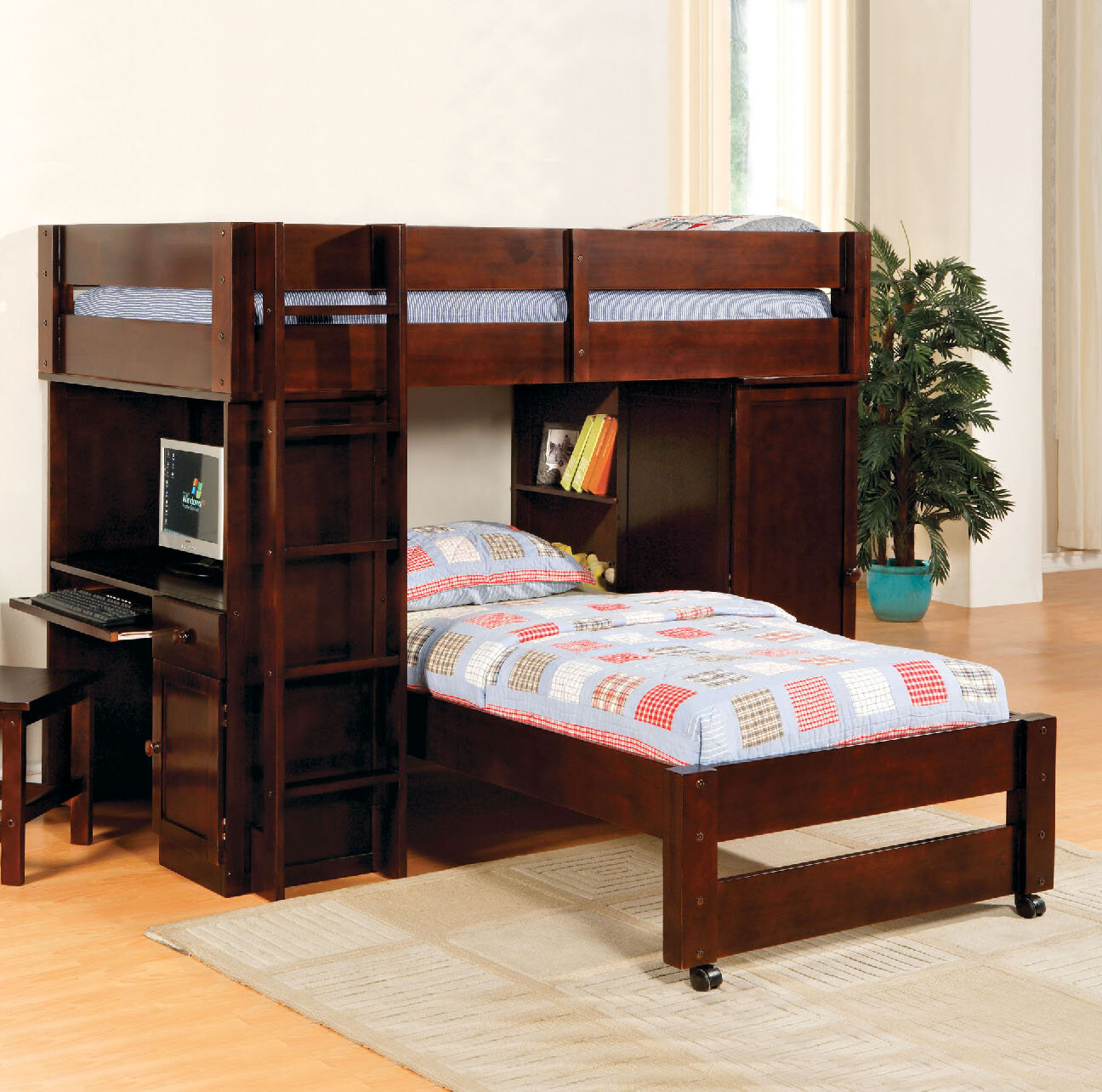 Aldana Twin Over Twin L Shaped Bunk Bed
