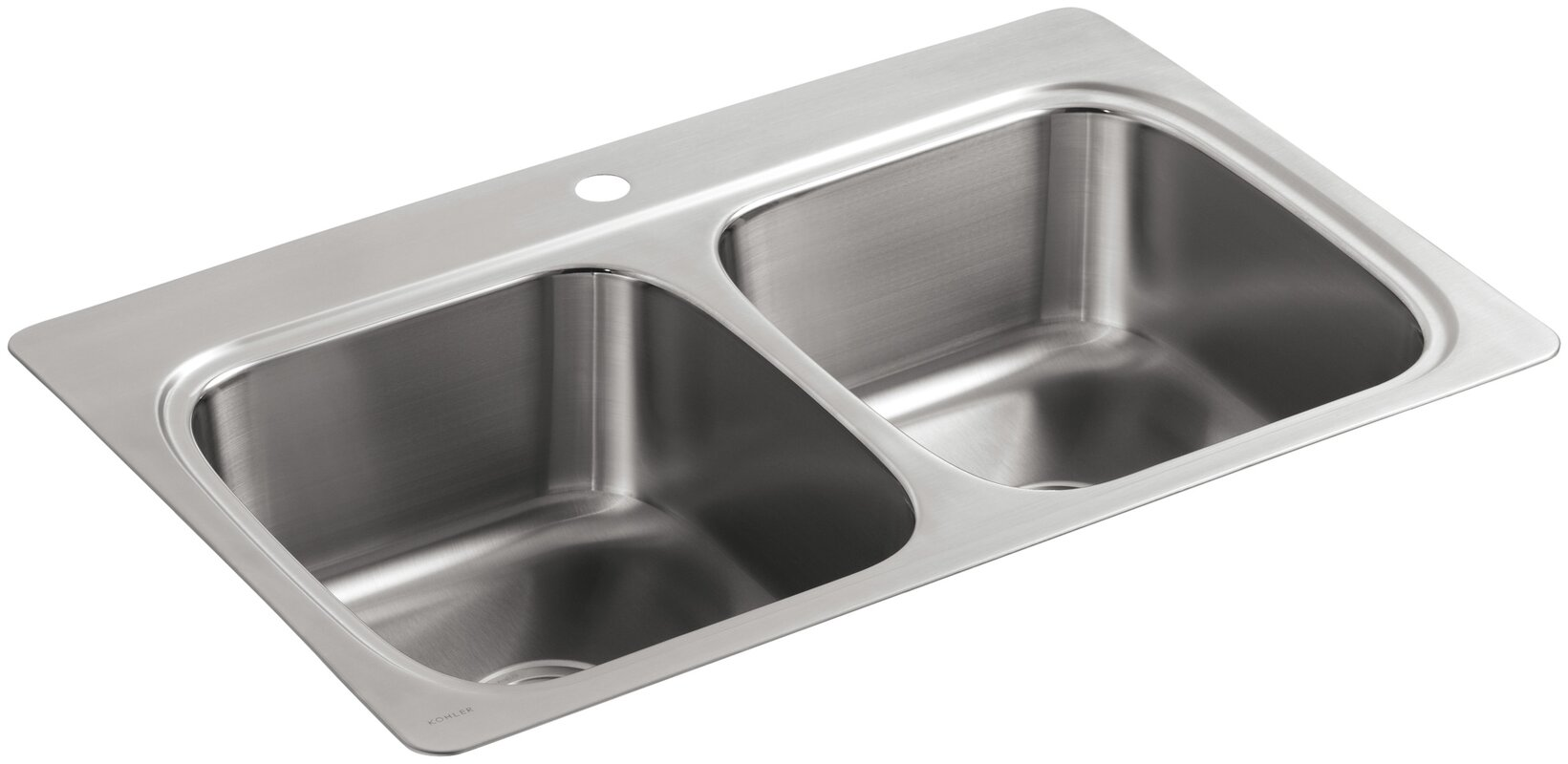 kohler verse top mount double equal bowl kitchen sink with single