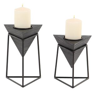 Modern Triangular 2 Piece Candlestick Set with Stand