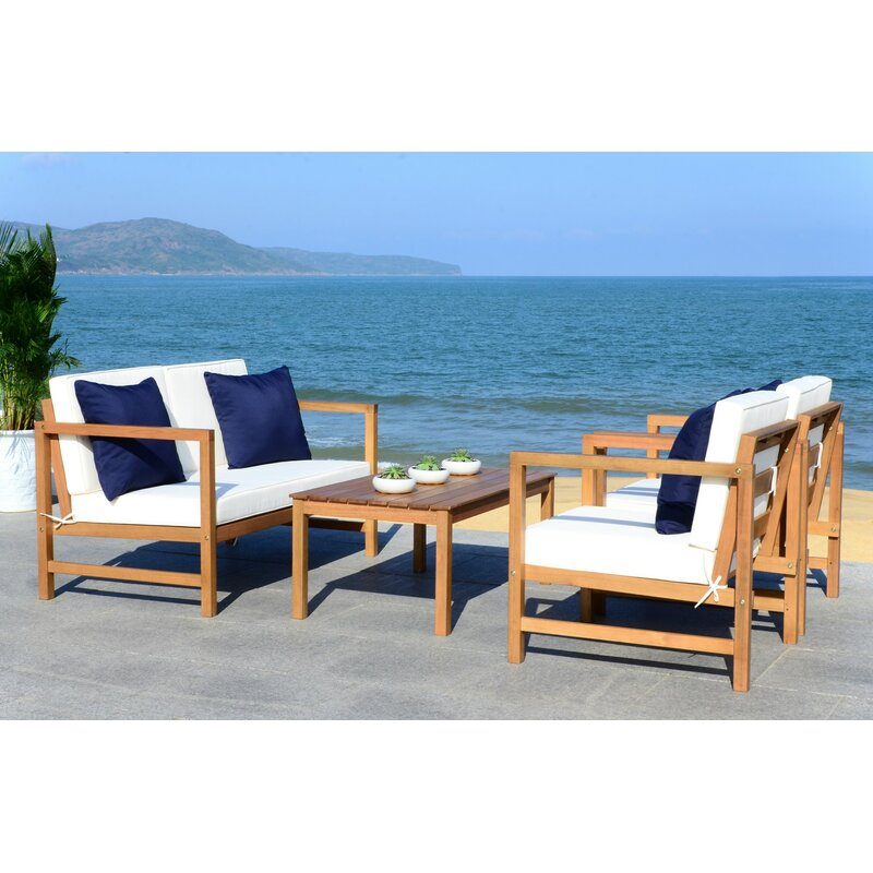 Beachcrest Home Crocett 4 Piece Sofa Seating Group with Cushions ...
