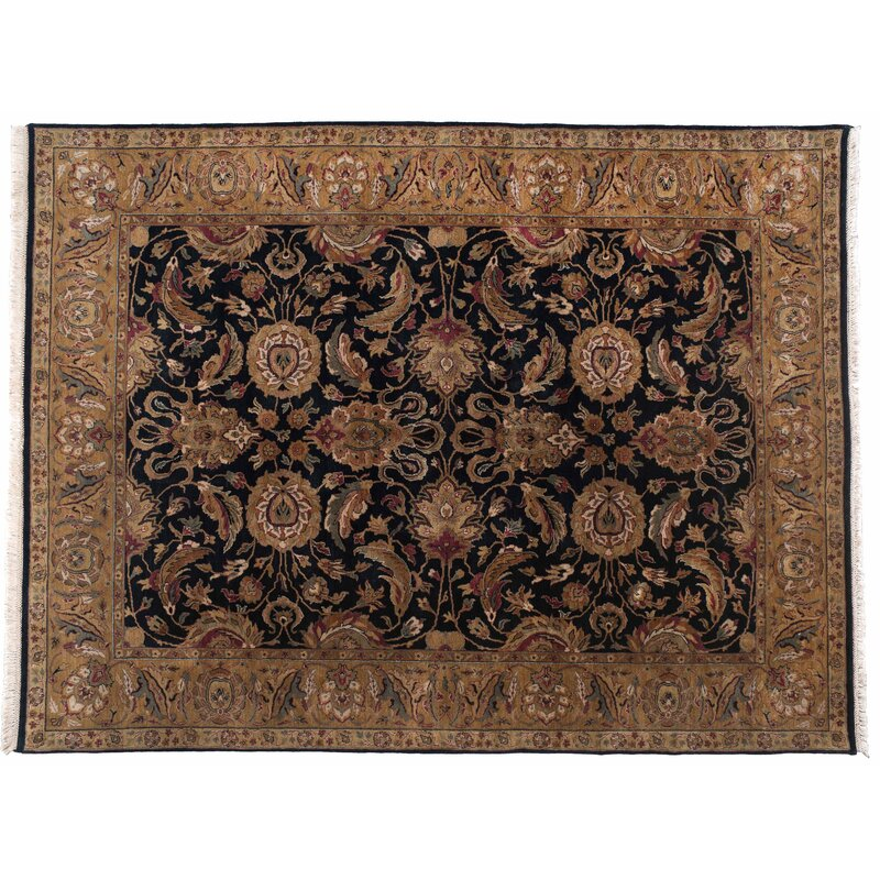 Aga John Oriental Rugs One-of-a-Kind Agra Hand-Knotted Runner 2 x 12 Wool Beige/Black Area Rug