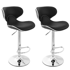 Morley Adjustable Height Swivel Stainless Steel Bar Stool (Set Of 2)