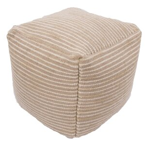 Andrews Textural Wool and Cotton Pouf Ottoma..