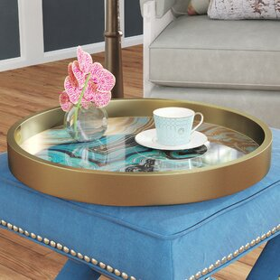 Round Blue Gold Serving Tray