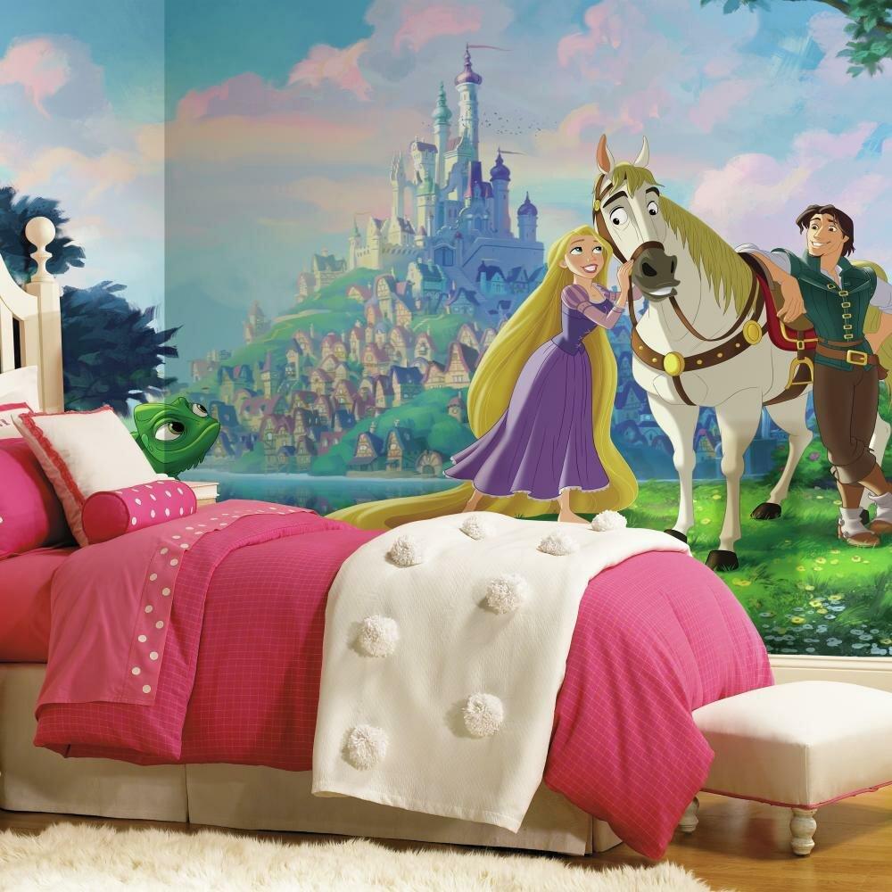 Room Mates Disney Princess Tangled Chair Rail Prepasted Wall Mural