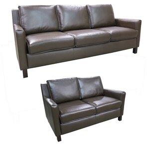Denver Top Grain Leather Sofa And Loveseat Set