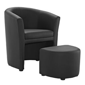 Cordie Barrel Chair And Ottoman. Black White