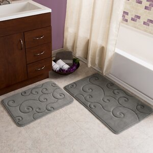 2 Piece Coral Fleece Embossed Bath Rug Set