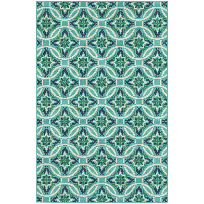 Contemporary Outdoor Area Rugs: Beachcrest Home Kailani Contemporary Geometric Blue/Green