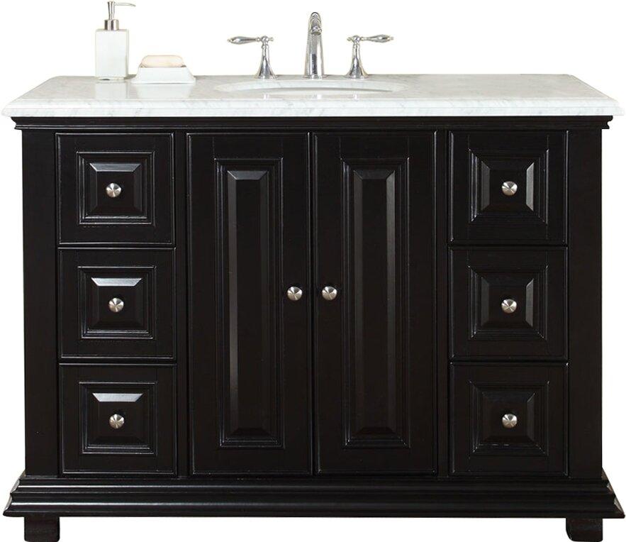 """silkroad exclusive 48"""" single sink bathroom white marble"""