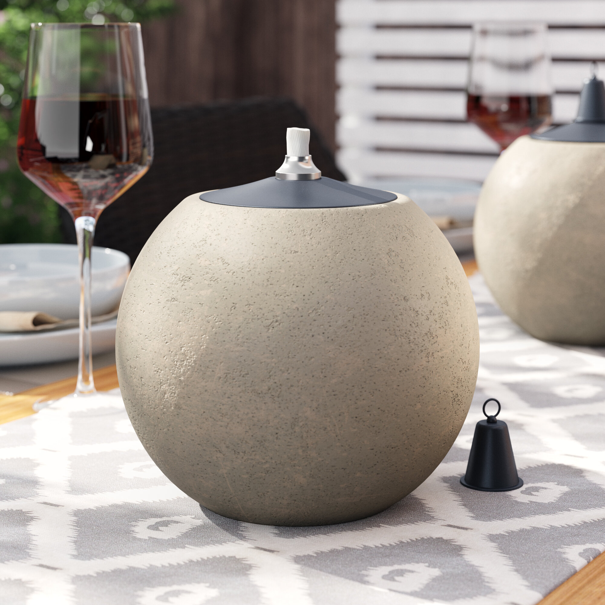 World Menagerie Yount 7 Stone Look Ball Outdoor Citronella Tabletop Torch Wayfair