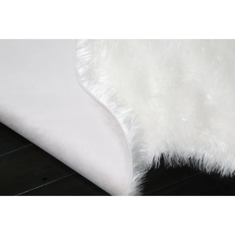 Glamour Home Decor Shag And Flokati Faux Sheepskin White