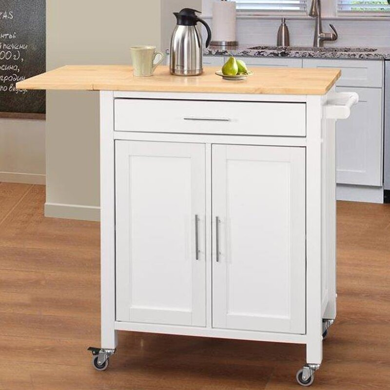 Beau Vina Kitchen Island With Wood Top