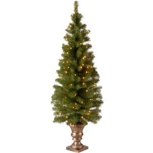 montclair entrance green spruce artificial christmas tree with 100 pre lit clear lights with urn - Outdoor Christmas Trees