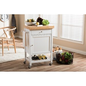 Baxton Studio Kitchen Cart with Wood Top by Wholesale Interiors
