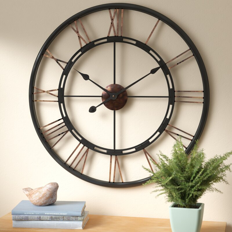 Large Wall Clock In Foyer : August grove drew oversized metal wall clock reviews