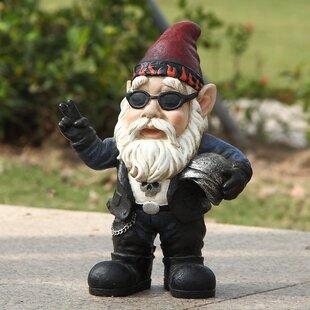 Attractive Biker Gnome Statue