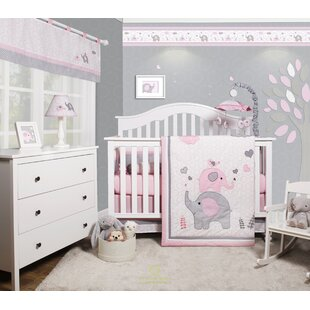 Cheatwood Elephant Baby Girl Nursery 6 Piece Crib Bedding Set (Set Of 6)