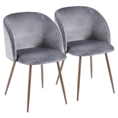 Brayden Studio Chu Upholstered Dining Chair Color: Gray/Walnut