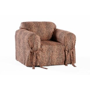 Leopard Print Box Cushion Armchair Slipcover