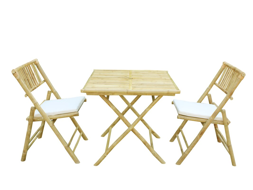 Bay Isle Home Corning Bamboo Outdoor 3 Piece Bistro Set with ...