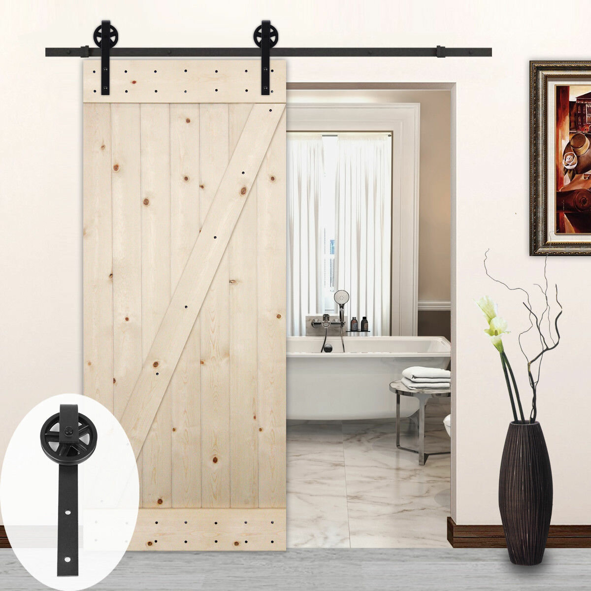 Lubann Big Wheel Style Sliding Wood Track Kit Barn Door ...