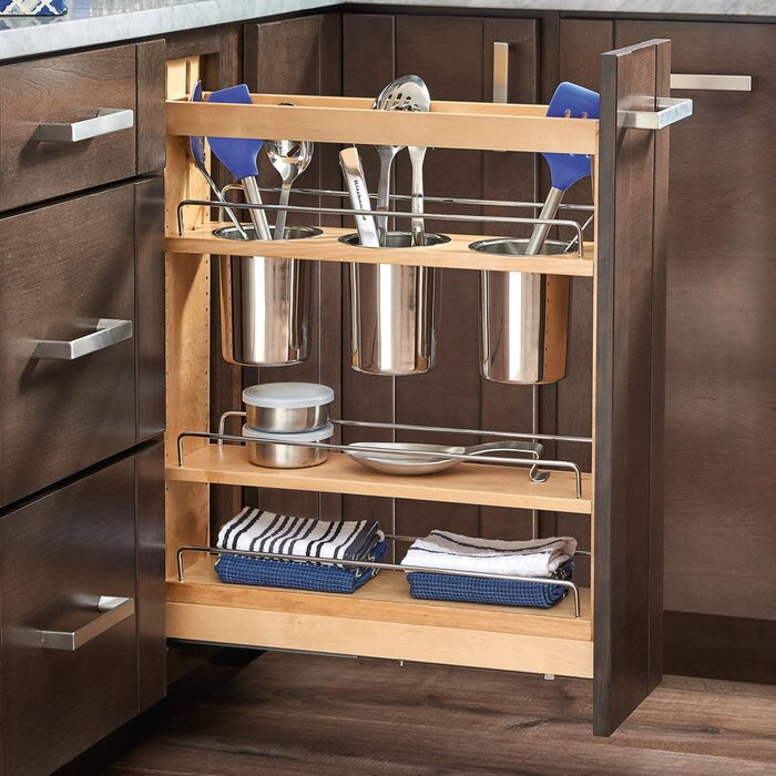 5 pull out cabinet utensil organizer